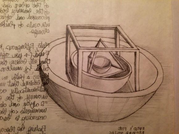 Fig. 2_I cinque solidi regolari di Euclide